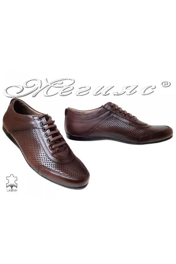 Мъжки спортни обувки АТО 024 кафяви естествена кожа дупки