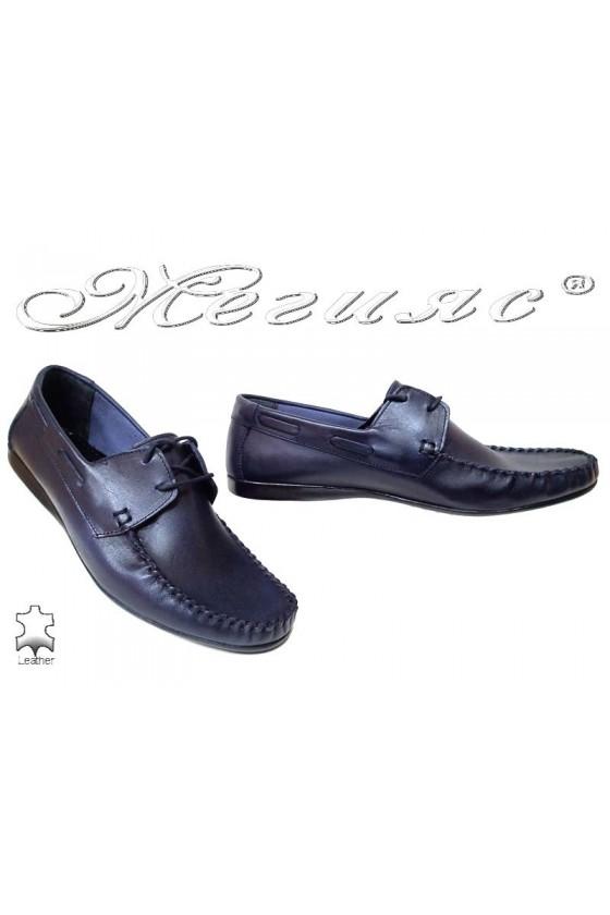 Мъжки обувки АТО 050 сини естествена кожа ежедневни връзки