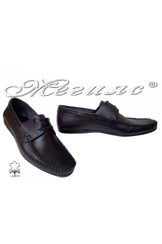 Мъжки обувки АТО 050 черни естествена кожа ежедневни връзки