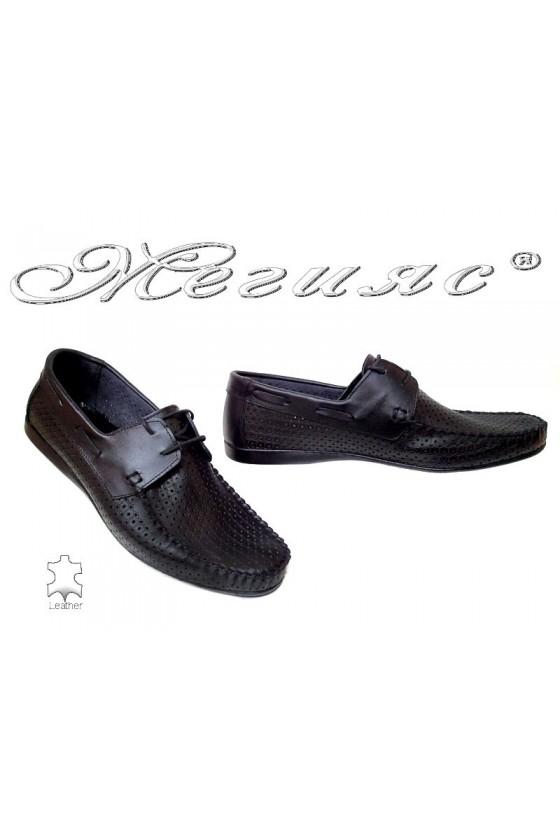 Мъжки обувки АТО 050 черни естествена кожа дупки ежедневни връзки