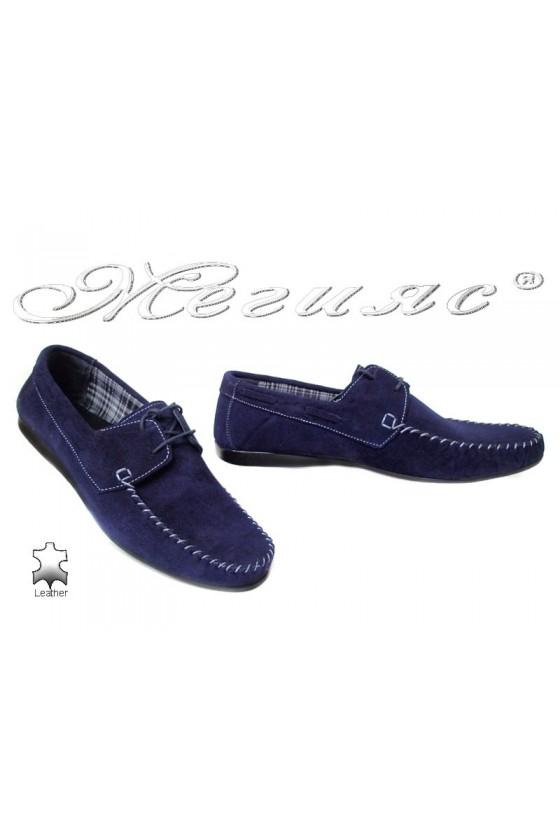 Мъжки обувки АТО 050 сини естествен набук ежедневни връзки