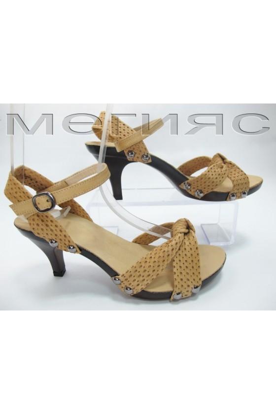 Дамски сандали 812-6480 бежови от естествена кожа