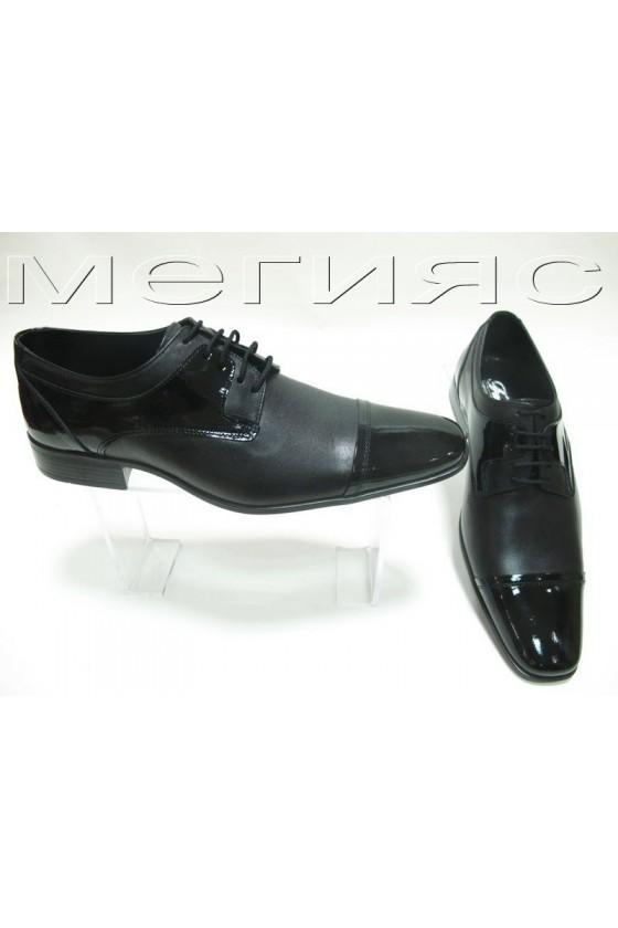 Мъжки обувки черни кожа с лак Фантазия 4409