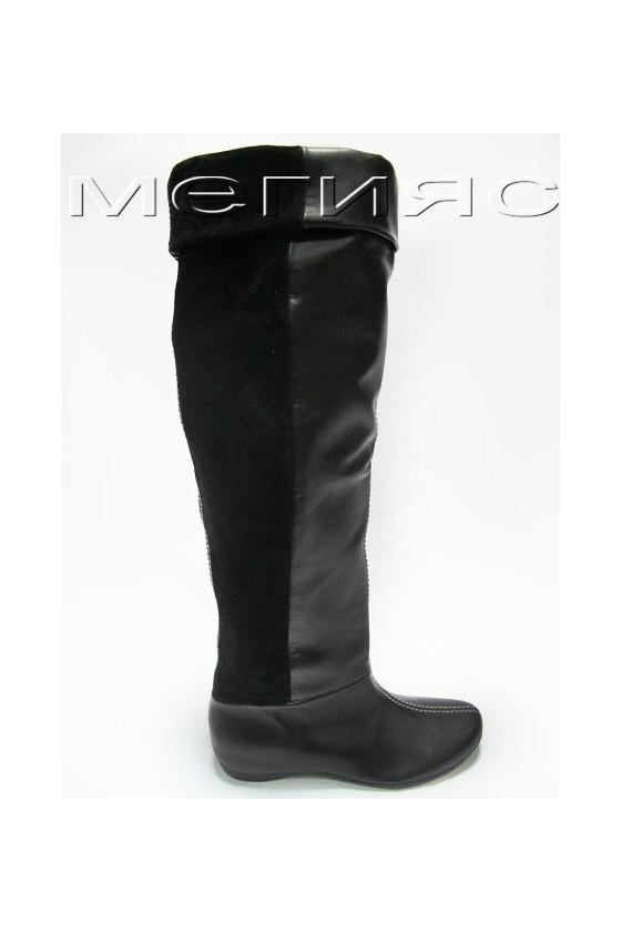 Дамски ботуши 160-0252 черни от естествена кожа