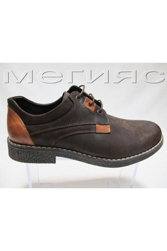 Мъжки обувки Фантазия 406 кафяви набук естествена кожа