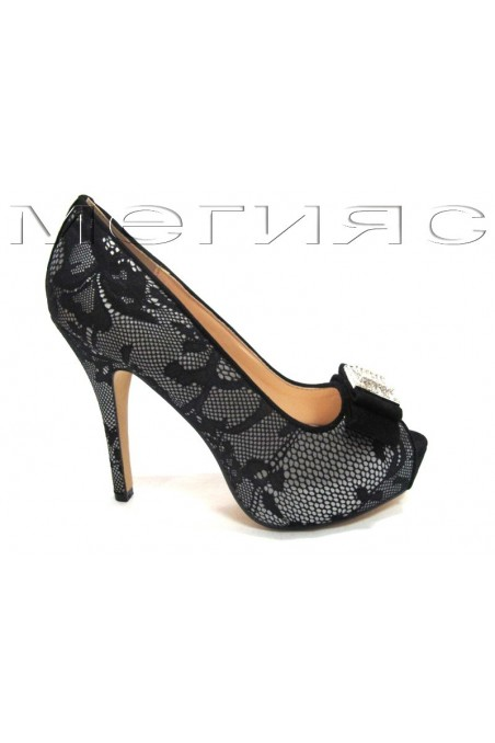 Lady shoes Jeniffer 13-5558 grey+black lattice with high heel