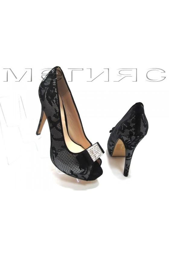 Lady shoes Jeniffer 13-5558 grey+black lattice with high heel