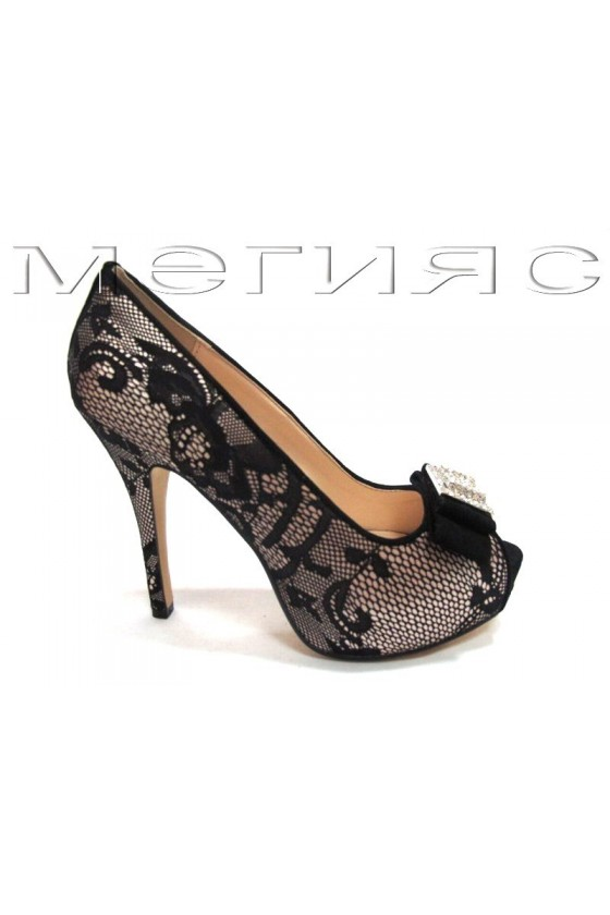 Lady shoes Jeniffer 13-5558 beige satin+black lattice with high heel