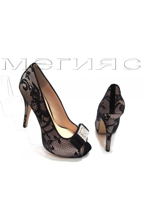 Lady shoes Jeniffer 13-5558 beige satin+black lattice with high heel