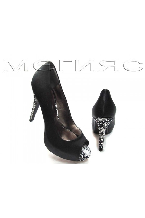 Lady shoes Jeniffer 13-5559 black satin with high heel