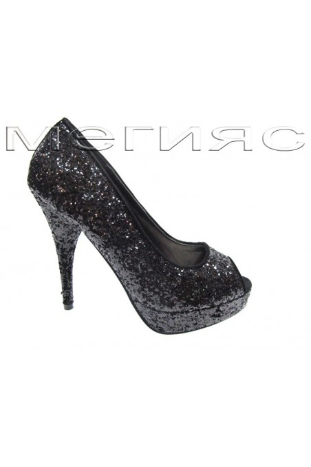 Lady shoes Jeniffer 13-5560 black brocade with high heel