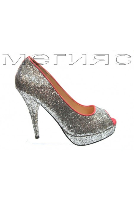 Lady shoes Jeniffer 13-5560 silver brocade+pink with high heel