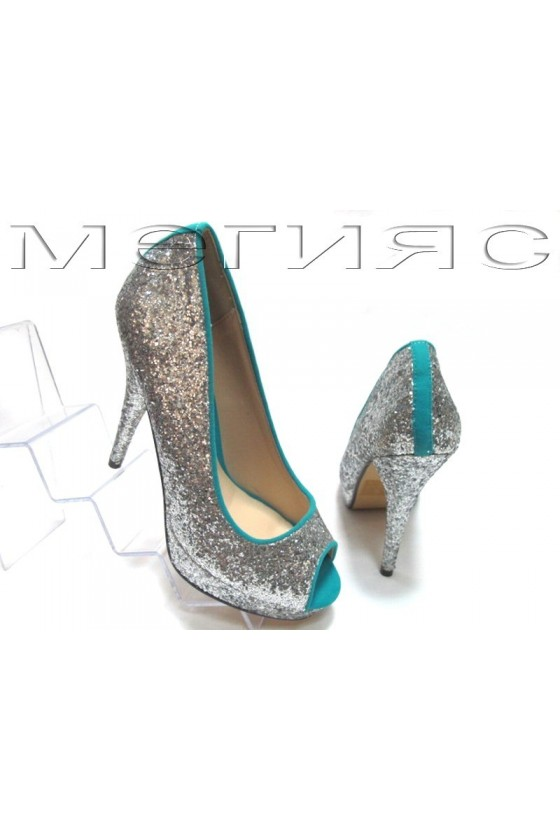 Lady shoes Jeniffer 13-5560 silver brocade+blue with high heel
