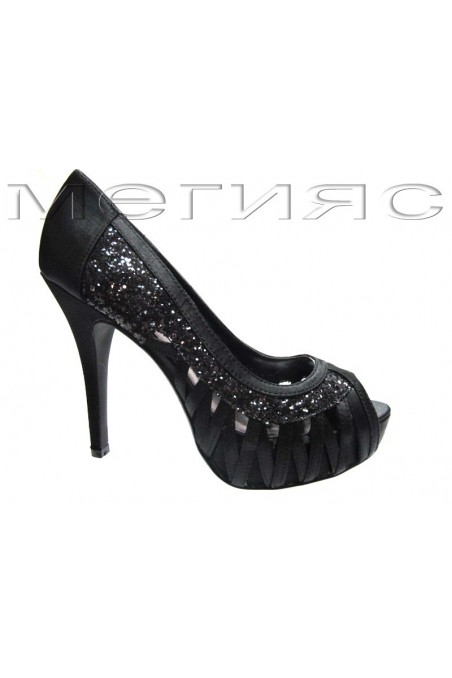 Lady shoes Jeniffer 13-5561 black satin+brocade with high heel