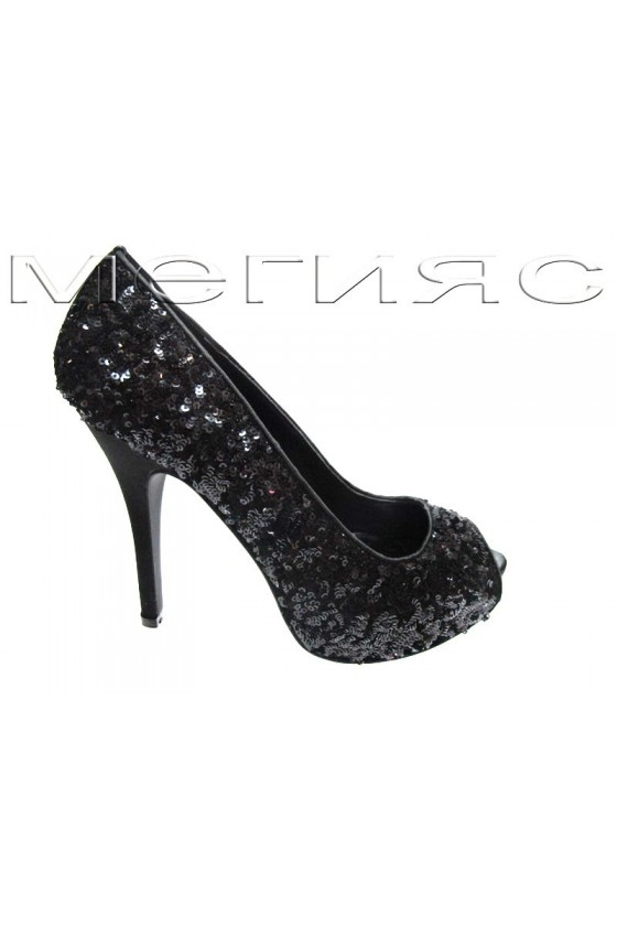 Lady shoes Jeniffer 13-5562 black sequins with high heel