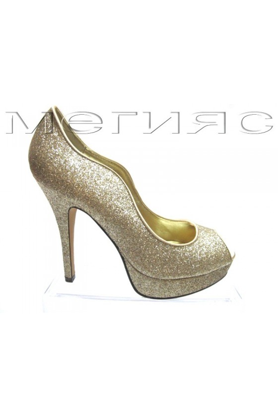 Women shoes Jeniffer 13-5557 gold brocade with high heel