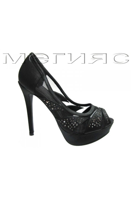 Women shoes Jeniffer 13-5555 black satin+stones with high heel