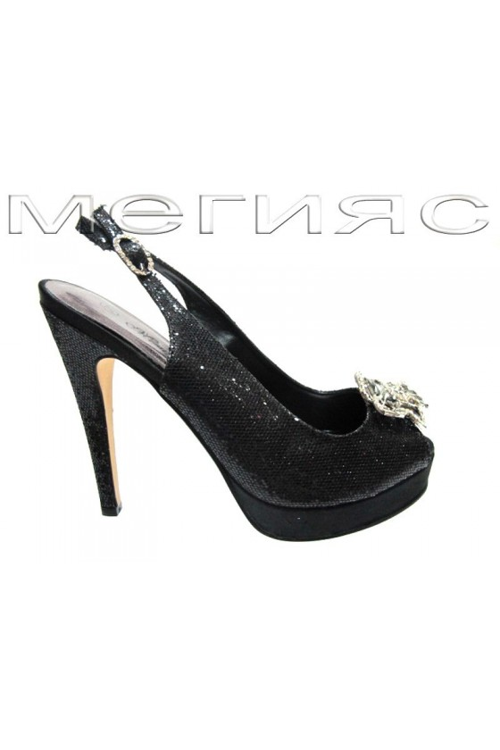 Women shoes Jeniffer 13-5568 black brocade with high heel