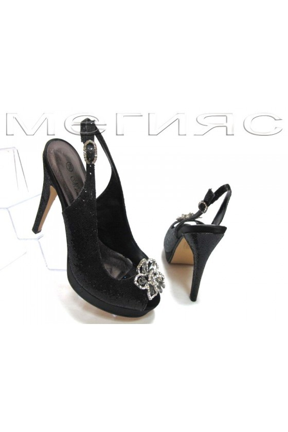 Women shoes Jeniffer 13-5568 black brocade with high heel