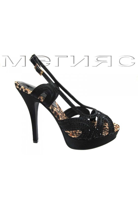 Women shoes Jeniffer 13-5553 black satin+stones with high heel