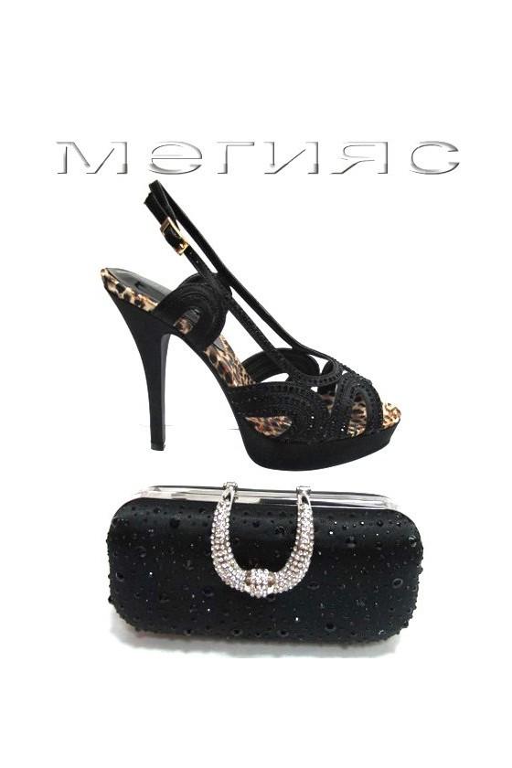 Women shoes Jeniffer 13-5553 black satin+stones with high heel