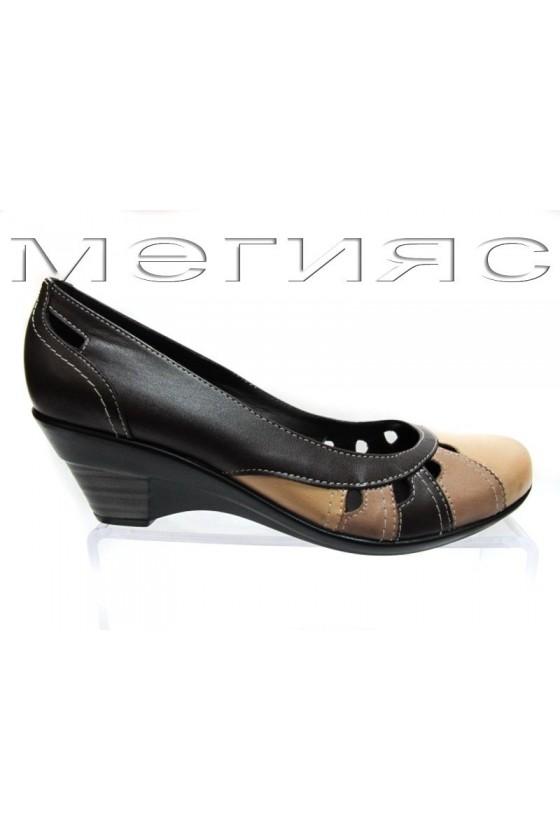 Дамски обувки 12325-2-а кафяви с бежово от естествена кожа