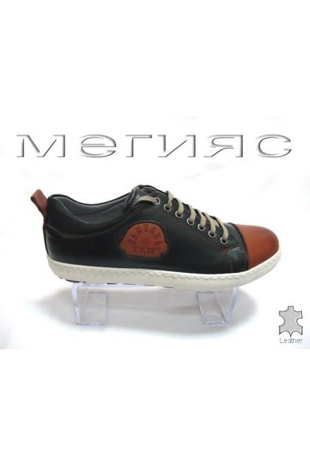 Мъжки обувки Sens.199 зелено с кафяво от естествена кожа