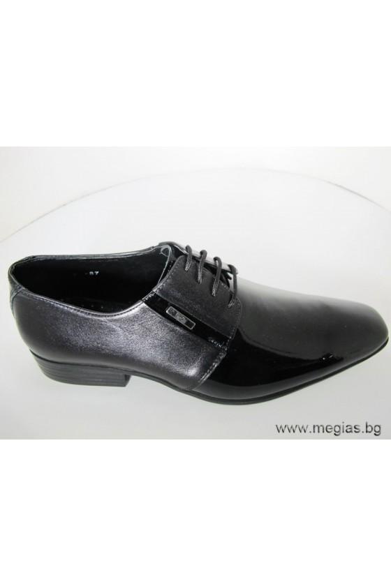 Мъжки обувки Фантазия 87 черни лак с кожа