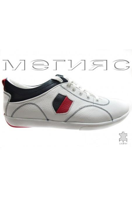 Мъжки обувки 080-01 бели естествена кожа