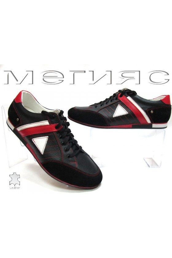 Мъжки обувки 082 черни с червено от естествена кожа
