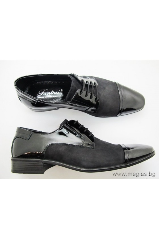 Мъжки обувки фантазия 11 набук с лак естествена кожа