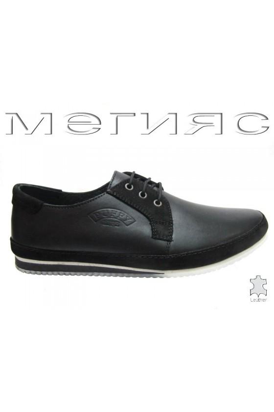 Мъжки обувки Пъфи 20-07 черни естествена кожа