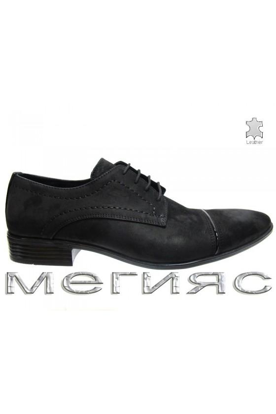 Мъжки обувки естествен набук черни Фантазия P-09