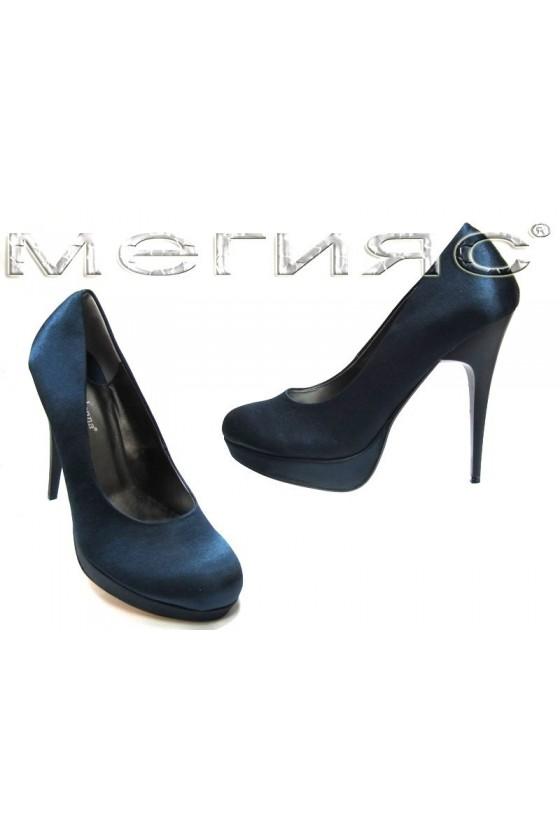Дамски обувки 843 dk.blue saten