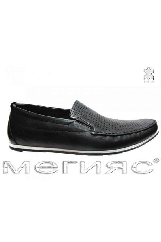 Мъжки обувки Пъфи 714 перфорация черни естествена кожа