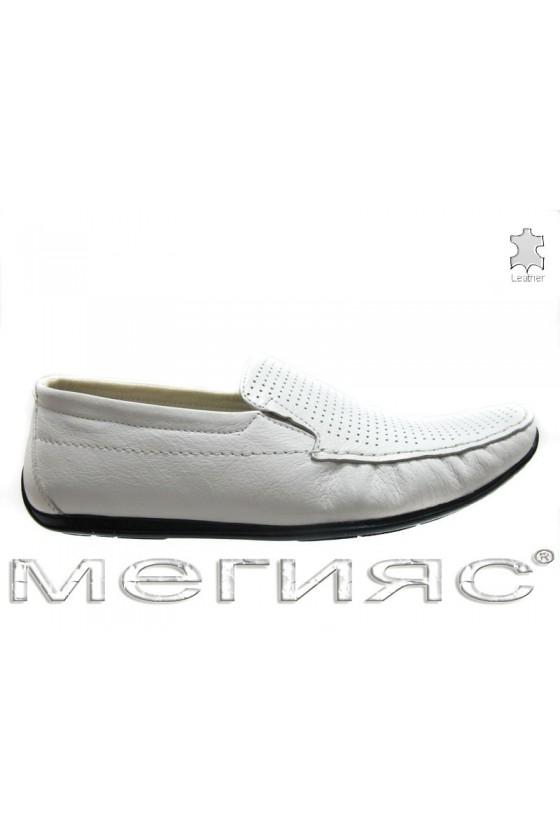 Мъжки обувки Пъфи 714 перфорация бели естествена кожа
