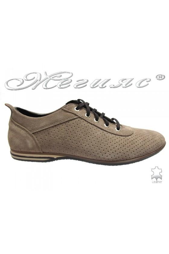 Мъжки обувки Sens.K-65 бежови велур
