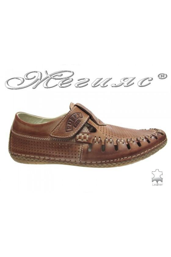Мъжки обувки Пъфи 719 кафяви естествена кожа