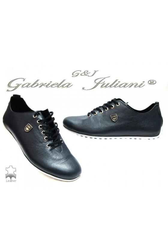Мъжки обувки G&J 605 сини естествена кожа