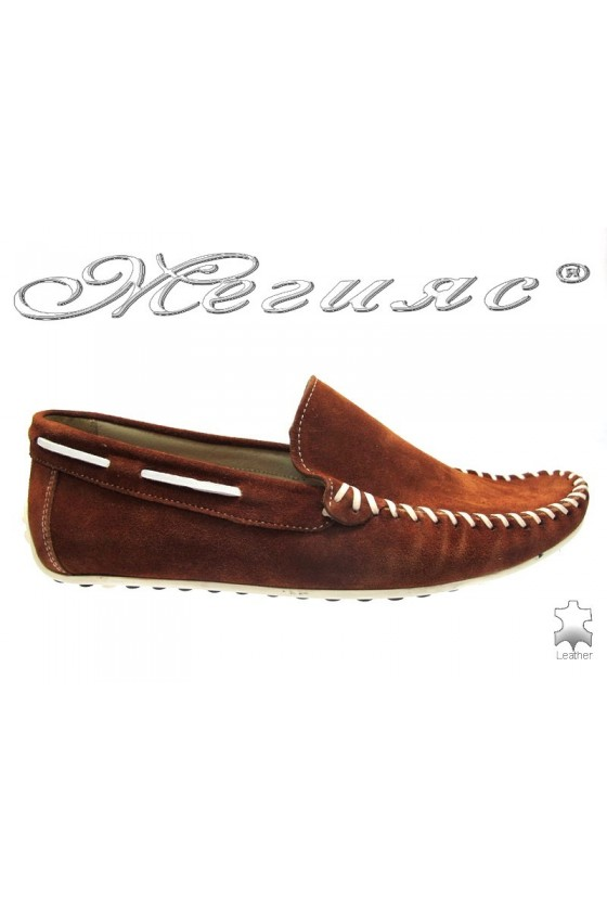 Мъжки обувки Фантазия 8120 кафяви велур естествена кожа