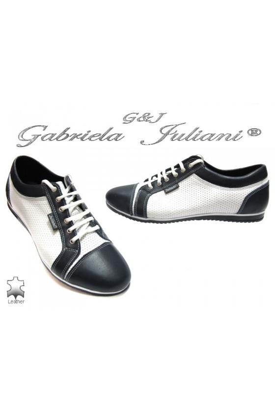 Мъжки обувки 042 бяло със синьо естествена кожа