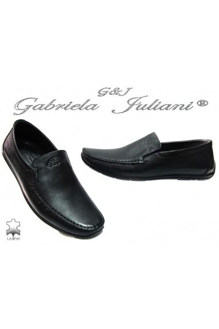 Мъжки обувки Пъфи 714 черни естествена кожа