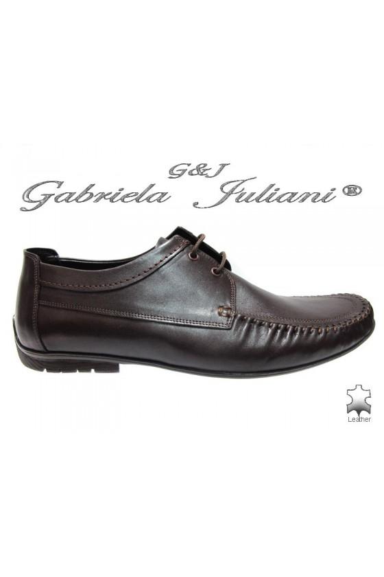 Мъжки обувки Фантазия 8142 тъмно кафяви естествена кожа