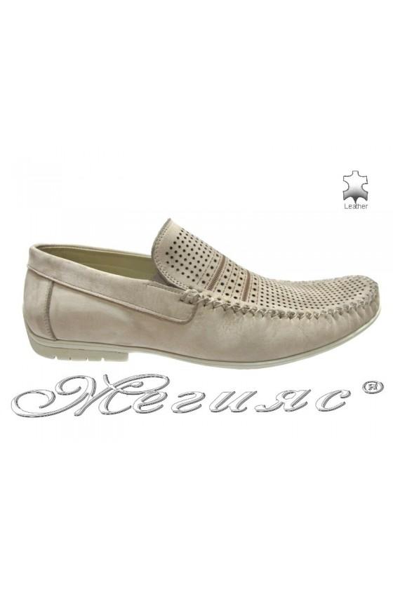Мъжки обувки Фантазия 8141 бежови естествена кожа