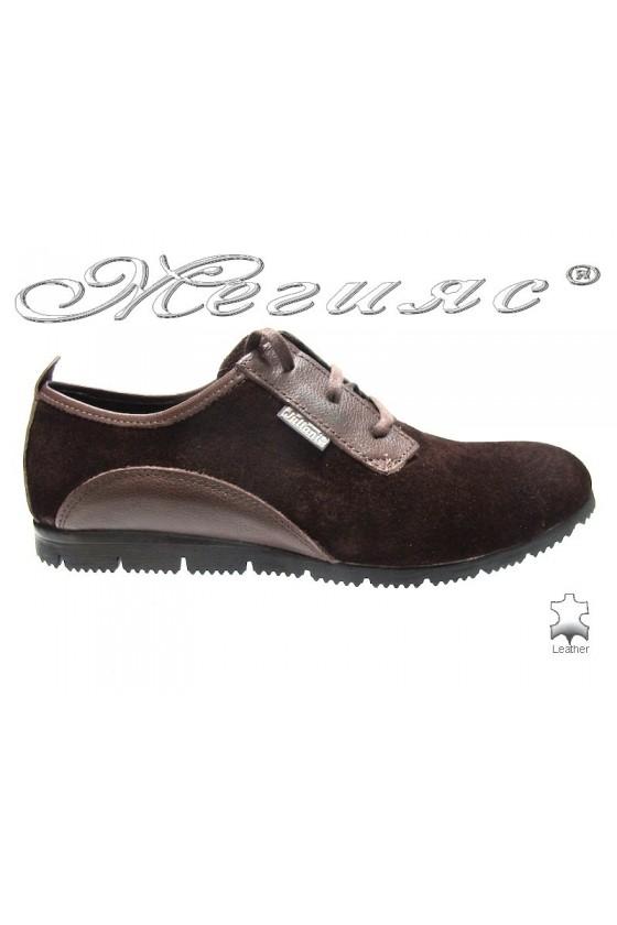 Мъжки обувки тренд 542 кафяво естествен велур