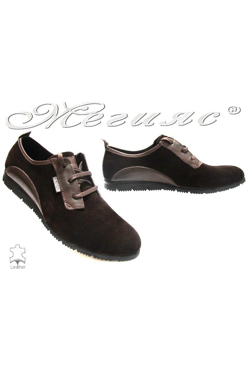 men's shoes 542  brown suede
