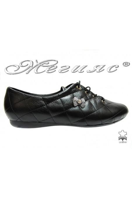 Women sport flat shoes 07 black leather
