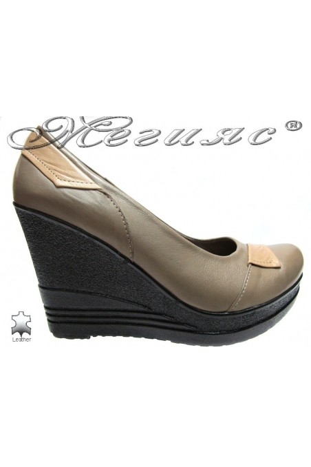 Ladies high platform shoes 157-313 casual beige all leather