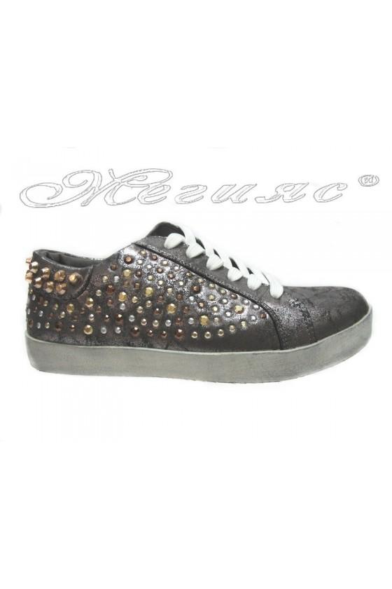 Дамски обувки 25002-33 сиви спортни ниски с капси