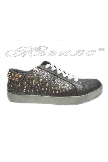 Women sport flat shoes 25002-33 grey with caps